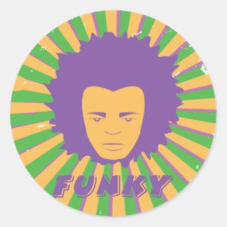 Funk ~ Funky Retro 80s 1980s Disco Man Classic Round Sticker