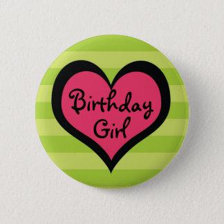Funk Pink Heart Birthday Girl Button