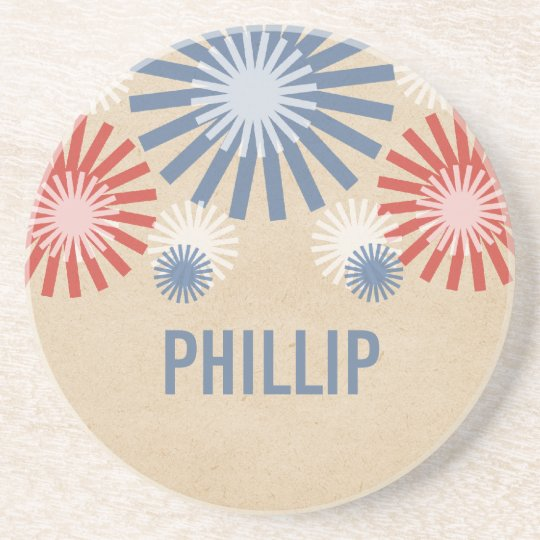 Funky 4th of July Fireworks Coaster