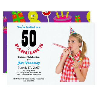 Funky 50 and Fabulous 50th Birthday Invitation