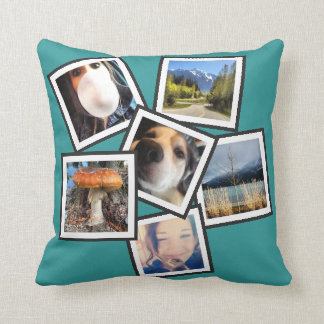 Funky 6 Instagram Photo Collage Throw Pillow