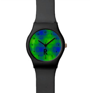 Funky 70s Abstract Neon   Monogrammed Blue Green Watch