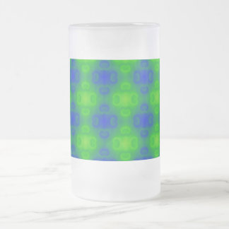Funky 70s Abstract Pattern Neon Blue Green Blur 16 Oz Frosted Glass Beer Mug