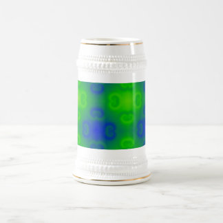 Funky 70s Abstract Pattern Neon Blue Green Blur 18 Oz Beer Stein