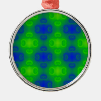 Funky 70s Abstract Pattern Neon Blue Green Blur Silver-Colored Round Ornament