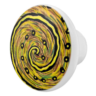 Funky Abstract Bright Yellow Swirl Ceramic Knob
