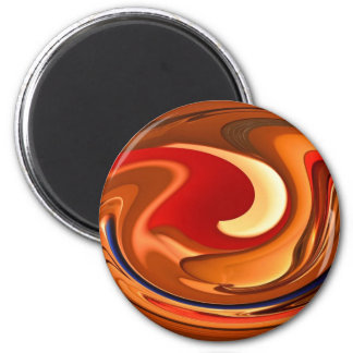 Funky Abstract Burnt Orange and Red Design 2 Inch Round Magnet