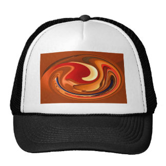 Funky Abstract Burnt Orange and Red Design Mesh Hats