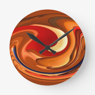 Funky Abstract Burnt Orange and Red Design Round Clock