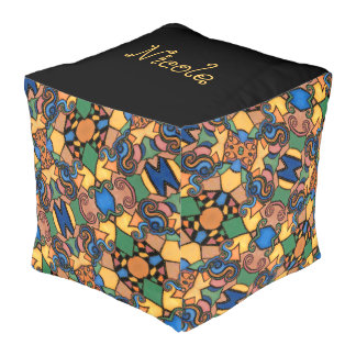 Funky Abstract Colorful Pattern Custom Name Pouf