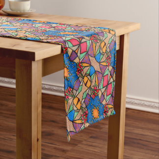 Funky Abstract Flower Pattern Short Table Runner