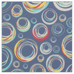 Funky Abstract Rainbow Circles Pattern Fabric