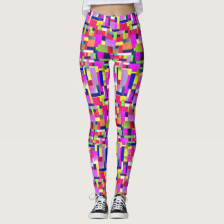 Funky, active, Multicoloured bricks art, Leggings
