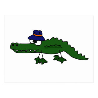 Funky Alligator Wearing Fishing Hat Cartoon Postcard