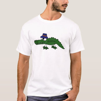 Funky Alligator Wearing Fishing Hat Cartoon T-Shirt