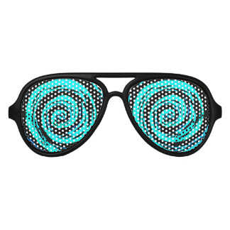 Funky Aqua Hypnotic Swirl Art Aviator Sunglasses