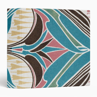 funky art nouveau abstract colorful pattern swirl 3 ring binder
