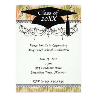 funky art nouveau pattern abstraction graduation personalized invitations