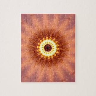 Funky Artistic Chic Peach Yellow Mandala Jigsaw Puzzle