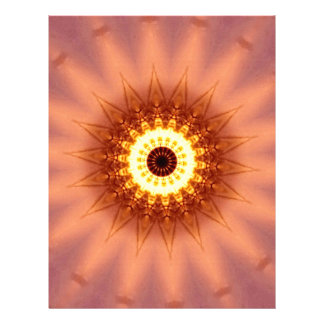 Funky Artistic Chic Peach Yellow Mandala Letterhead Design