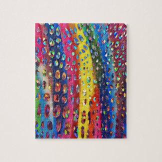 Funky Artistic LGBTQ Rainbow Snake Skin Pattern Jigsaw Puzzle