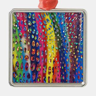 Funky Artistic LGBTQ Rainbow Snake Skin Pattern Metal Ornament
