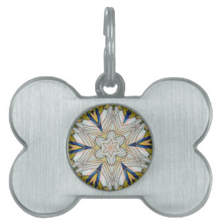 Funky Artistic Star in Daisy Shaped Abstract Pet Name Tag