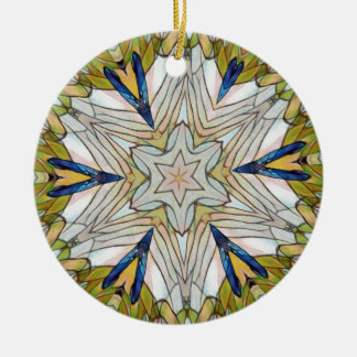 Funky Artistic Star in Daisy Shaped Abstract Round Ceramic Ornament