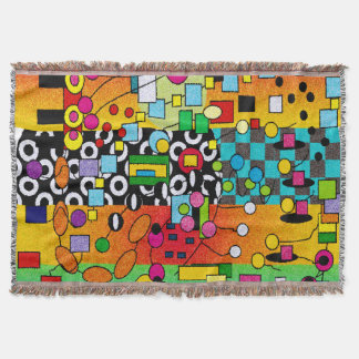Funky Artsy Abstract Woven Blanket Throw