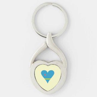 Funky Aruba Heart Flag Keychain