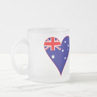 Funky Australia Heart Flag w/ Red Border 10 Oz Frosted Glass Coffee Mug