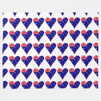 Funky Australia Heart Flag w/ Red Border Fleece Blanket