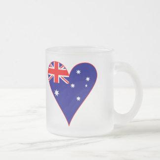 Funky Australia Heart Flag w/ Red Border Frosted Glass Mug
