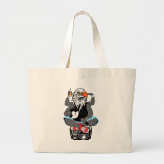 Funky Bald Eagle Large Tote Bag