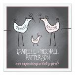 Funky Birds Modern Chalkboard Couples Baby Shower