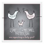 """Funky Birds Modern Chalkboard Couples Baby Shower 5.25"""" Square Invitation Card"""