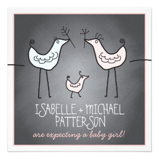 Funky Birds Modern Chalkboard Couples Baby Shower Announcements