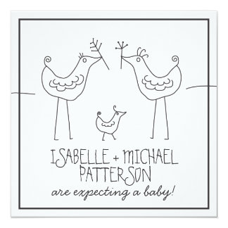 Funky Birds Modern Family Couple Baby Shower Card