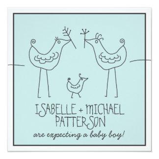 Funky Birds Modern Family Couples Baby Boy Shower Card