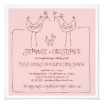"""Funky Birds Modern Family Couples Girl Baby Shower 5.25"""" Square Invitation Card"""