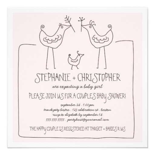Funky Birds Modern Family Couples Girl Baby Shower Personalized Invite