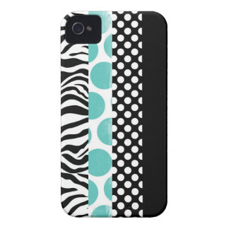 Funky Black and Blue Patterns iPhone 4 Case-Mate Cases