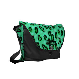 Funky Black And Green Leopard Messenger Purse Commuter Bag