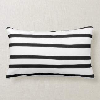 Funky Black and White Stripe Abstract Hand Drawn Lumbar Pillow