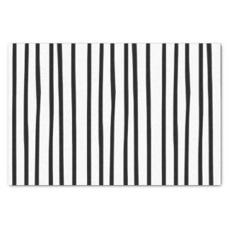 Funky Black and White Striped Tissue Paper