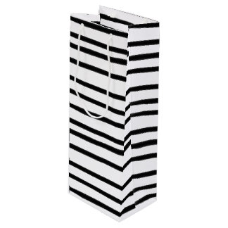 Funky Black and White Striped Wine Gift Bag