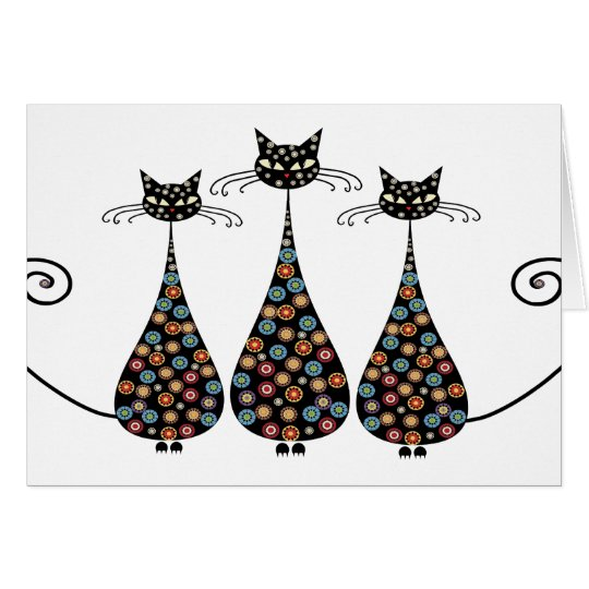 Funky Black Catin Notecards Card