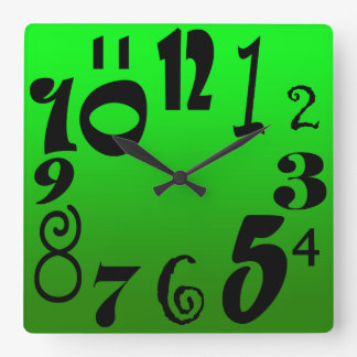 Funky black numbers - gradient of green face square wall clock
