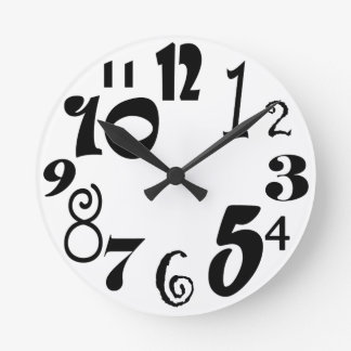 Funky black numbers on white round clock