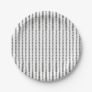 Funky, Black & White Abstract Pattern Paper Plates 7 Inch Paper Plate